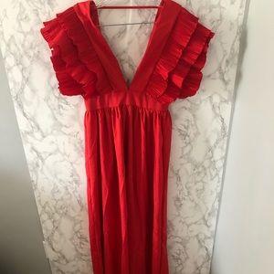Ruffle sleeve salsa maxi dress